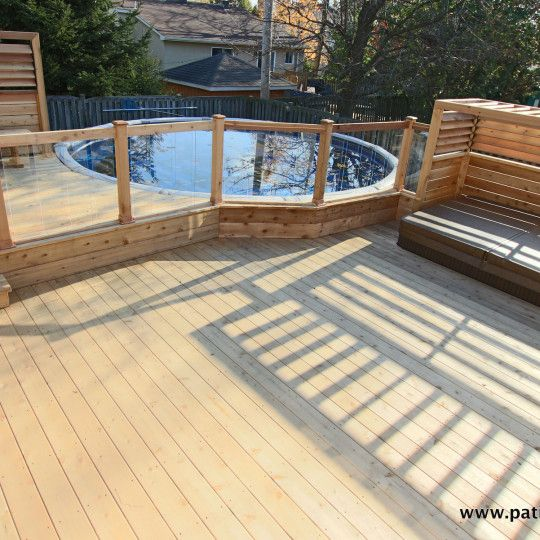 Patio de piscine hors terre brunelle 1 patio pinterest for Piscine hors terre