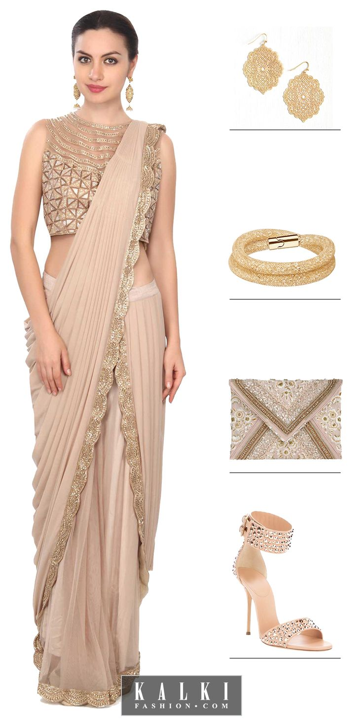 Take style a knotch higher with this superlative saree gown adorning in a brocade crop top. Do ethnic with a dash of western in it!