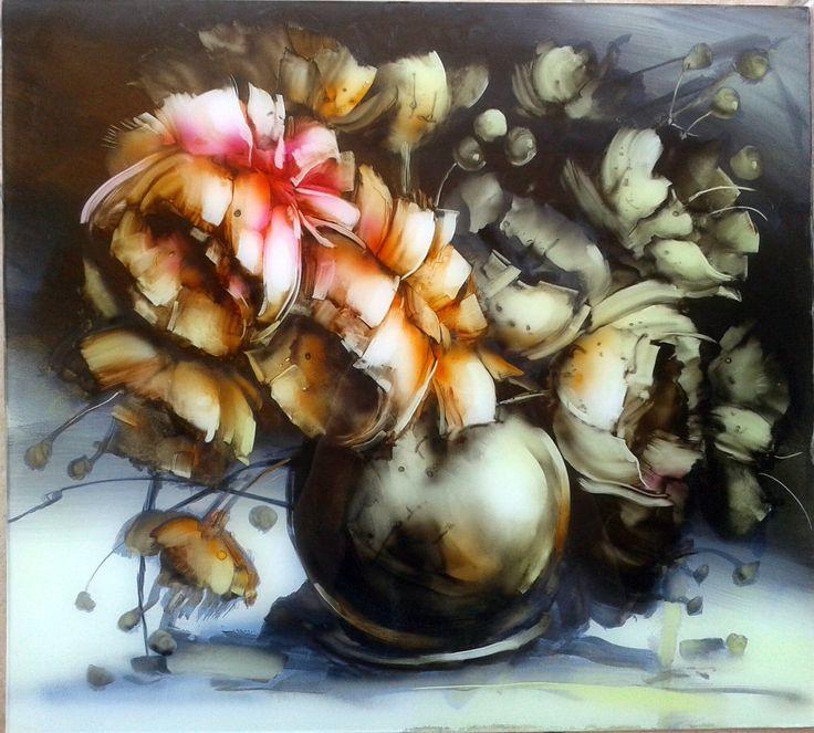 Virág polémia, 45x50cm, olaj/polimetakrilát