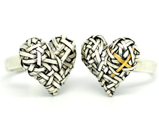 """woven heart """"Hers & Hers"""" promise ring ~ celebrating Love & our interconnectedness; by jewellery designer gurgel-segrillo #artjewelry #contemporaryjewellery #woven #silver #gold #heart #promise #rings"""