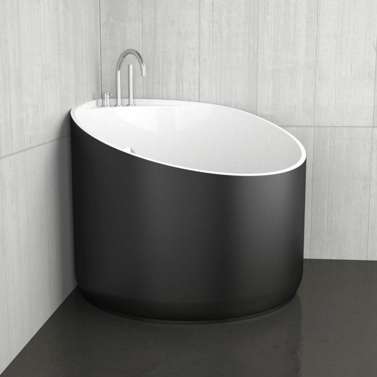 petite baignoire d'angle noire