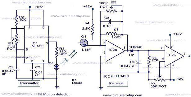 infrared motion detector schema diagram