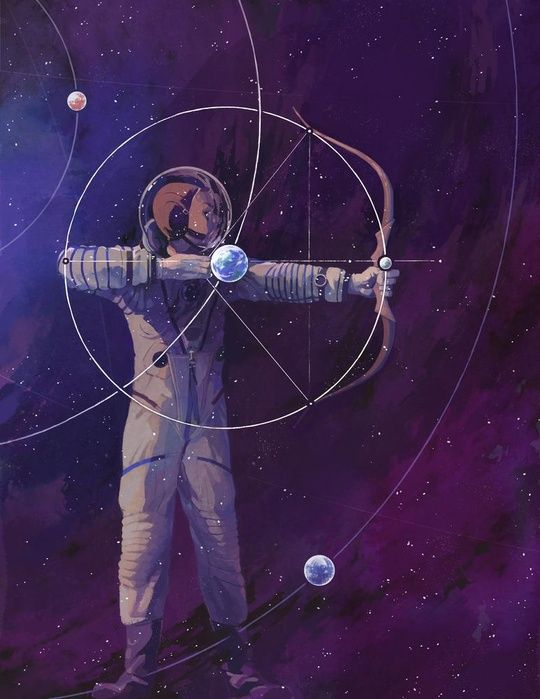 Space oddity archer. Sagittarius for the new millennium. Lagrange Points by Rebecca Mock #INPRNT #illustration