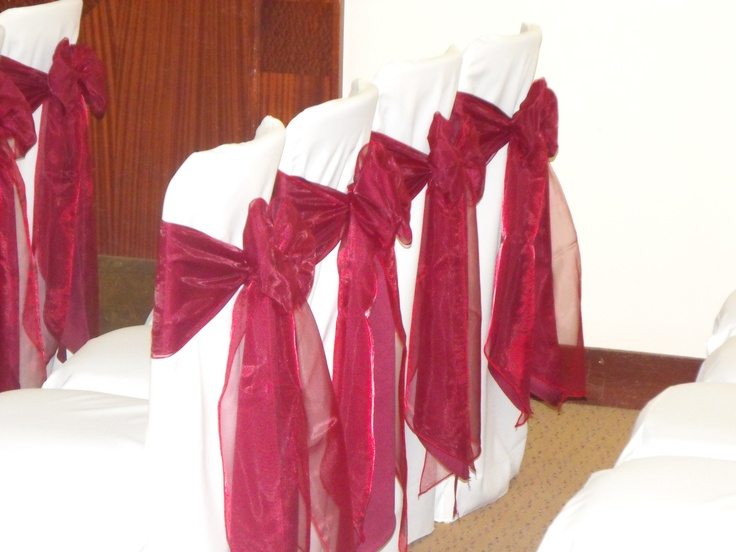 Double Matt Burgundy and Burgundy Organza Bows on White Chair Covers