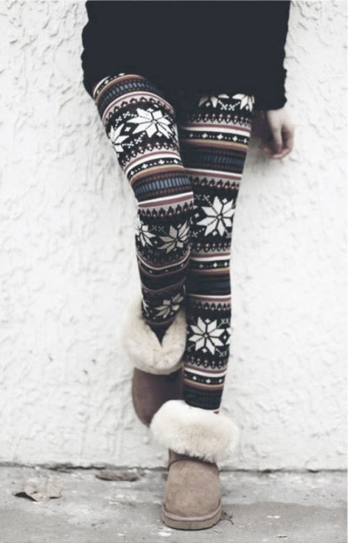 Love these leggings!!   Cute for around the house. Exchange the sheep skin slippers for boots and you can leave the house :P