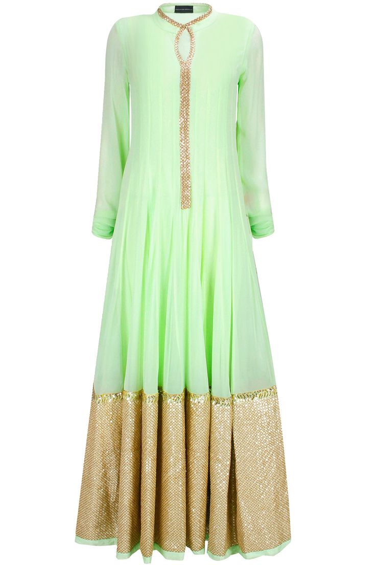 Mint green sequins and zari embroidered floor length anarkali available only at Pernia's Pop-Up Shop.