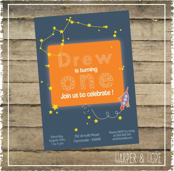 To the Space  1st Year Birthday Boy Invitation  by HarperandHope
