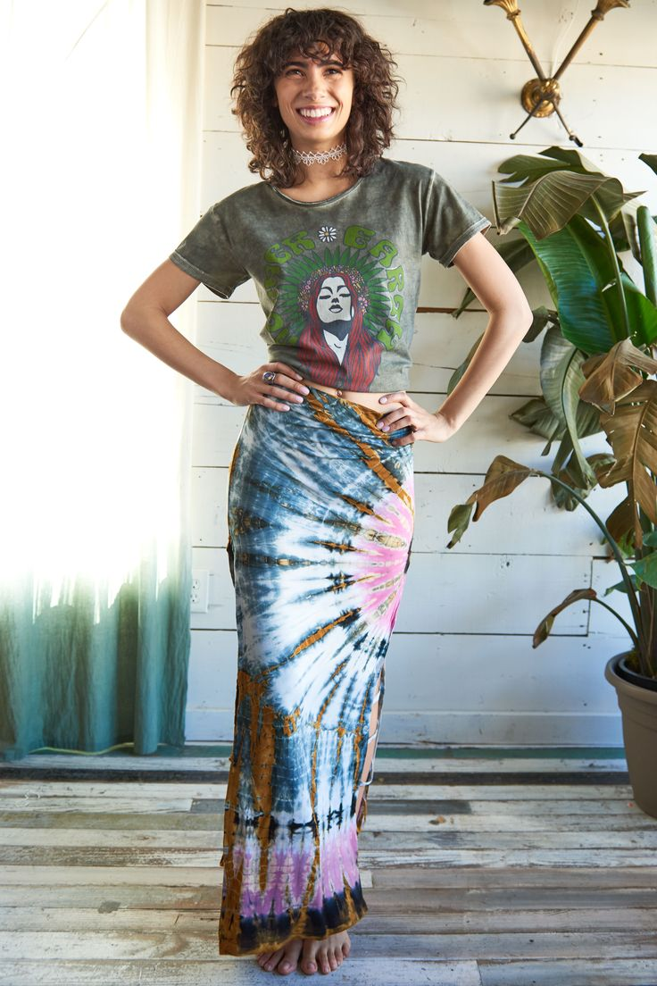 Zahra Pink and Blue Tie Dye Maxi Skirt
