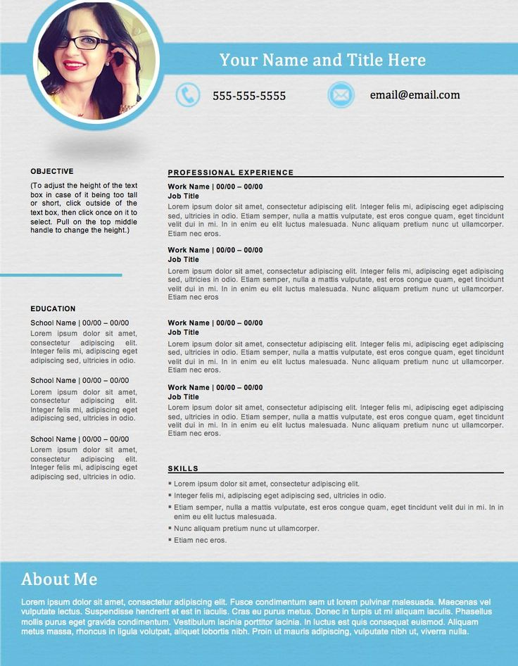 shapely blue resume template - edit easily in word
