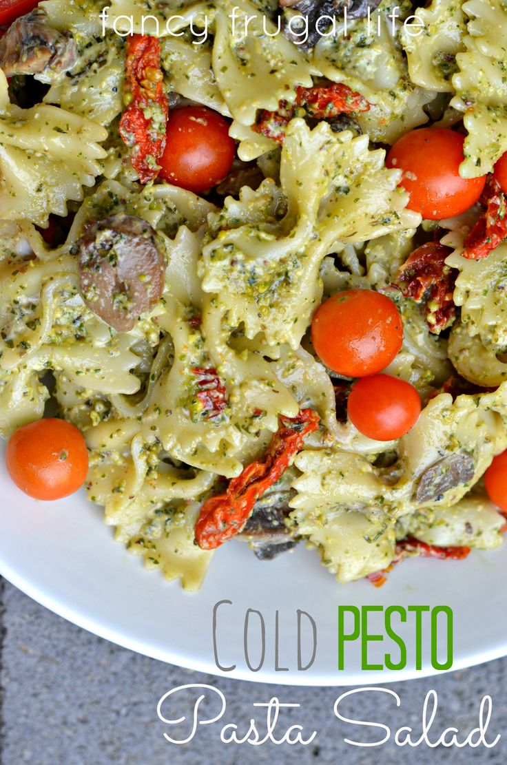 Cold Pesto Pasta Salad with fresh & sund-dried tomatoes by fancy frugal life