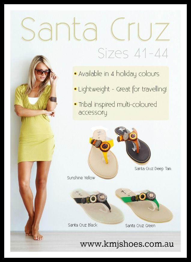 Wholesale large size sandals are available from www.kmjshoes.com.au. Santa Cruz is available in 4 colours.