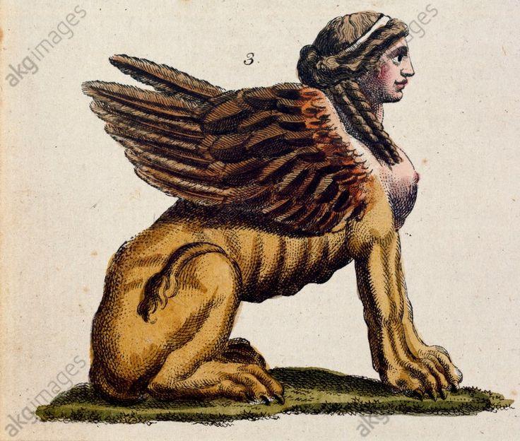 "THE GREEK SPHINX. Mythology / Greco-Roman: Sphinx.  ""The Greek Sphinx"".  Copper engraving, coloured. From: Friedrich Justin Bertuch, Bilderbuch f}r Kinder, 1st vol., Weimar (Verlag des Industrie-Comptoirs) 1792, No. 57, Fig. 3."