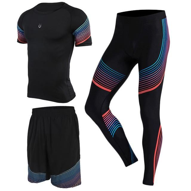 3 Piece Set Men's Leggings T-shirts Shorts Training Pants for Jogging, Running, Fitness, Gym compression suits