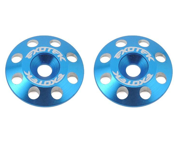 Exotek Racing Flite V2 16mm Aluminum Wing Buttons (2) (Blue)