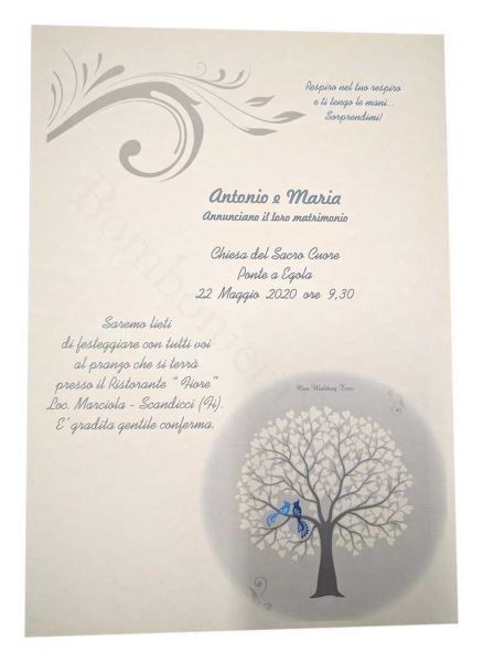 Partecipazioni nozze soggetto albero della vita
