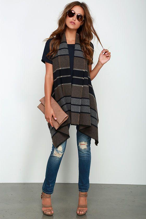BB Dakota Duncan Brown Striped Vest at Lulus.com!