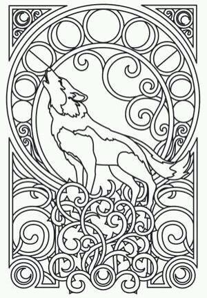 Mandala Wolf Drawing Coloring Pages Art Adult