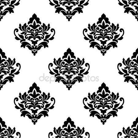 Скачать - Черно-белые повторить узор Арабески цветочные — стоковая иллюстрация #41888789