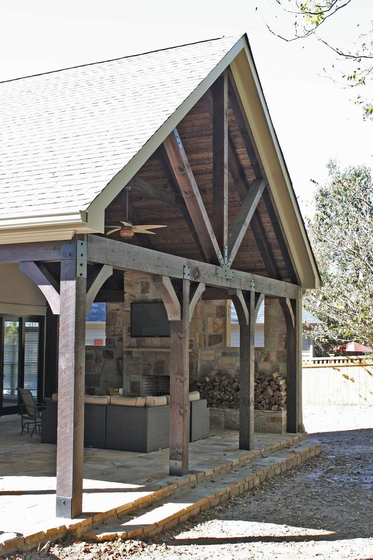 Gorgeous wooden and stone front porch ideas (69)