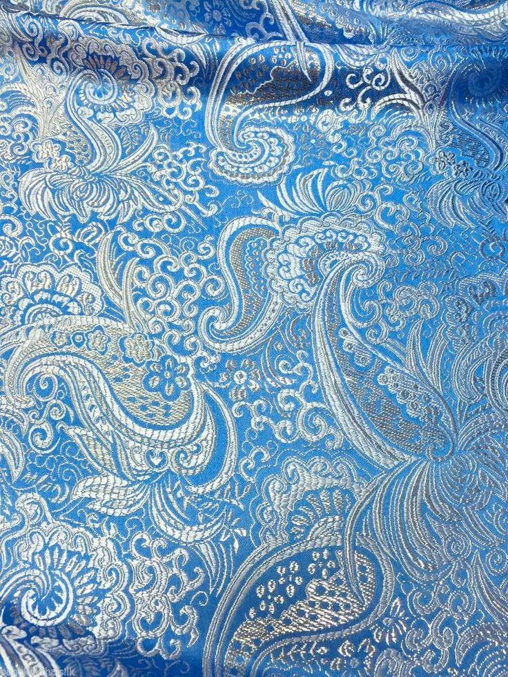 "SKY BLUE & SILVER PERSIAN PAISLEY METALLIC BROCADE FAUX SILK FABRIC 60""W"