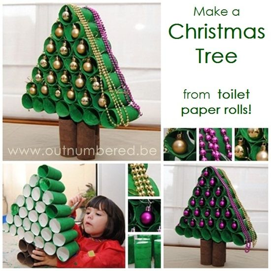 Easy kids craft: Christmas Tree out of toilet paper rolls You could hide treats inside the rolls and use as an advent calender - GREAT!!!!