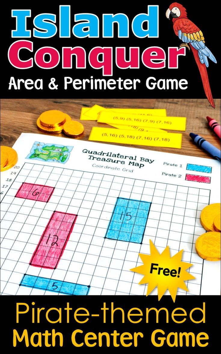 Island Conquer Free Pirate Themed Math Center Game Math Center Games Area And Perimeter Geometry Math Games [ 1175 x 735 Pixel ]