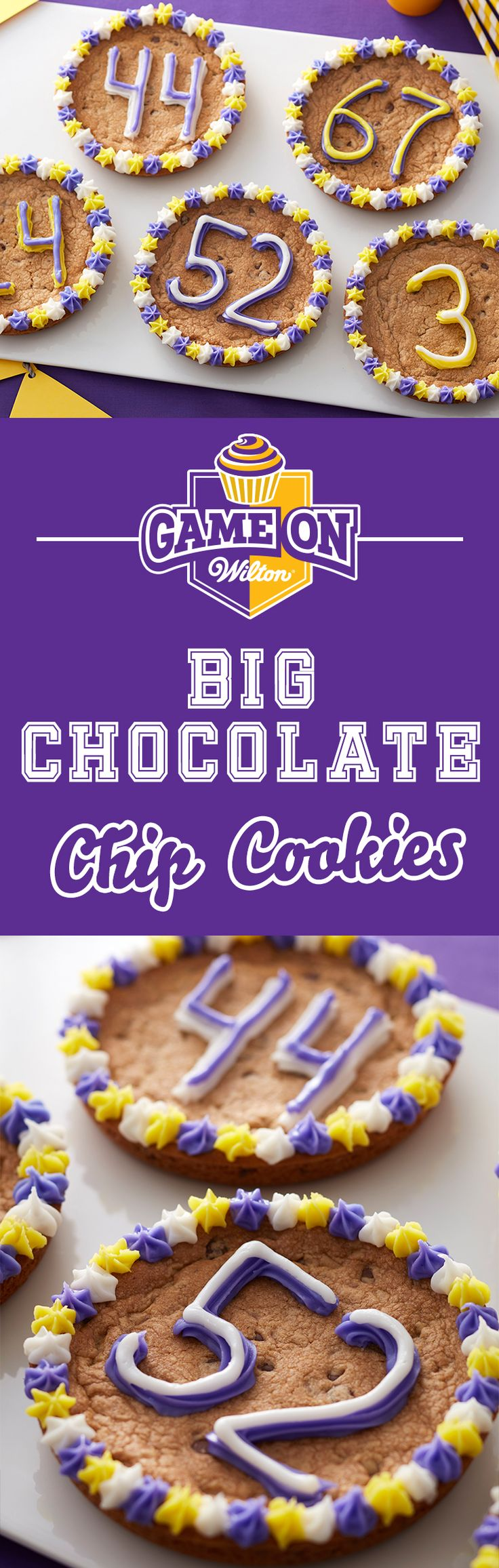 You love your team and these BIG cookies make a BIG statement to show it! Learn to make these cookies in just a few steps so you can have these tasty treats ready to go for the tailgate, cookout, youth sports team or any occasion you want to show off your team pride! Use the Wilton Easy Layers Cake Pan Set to easily make these giant chocolate chip cookies.