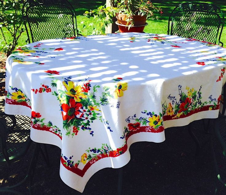 Wilendur Floral Cosmos Red Blue Yellow Tablecloth 68 X 55 Big Gorgeous  Flowers