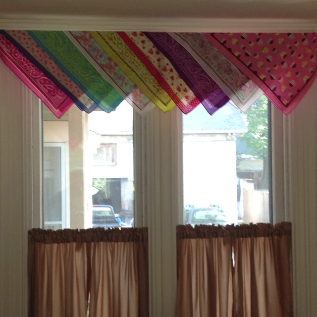 Classroom Hanging Decor ~ Curtain valances made from bandanas home pinterest