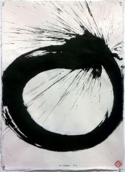 Max Gimblett Hair Knot, 2009 Sumi Ink / Thai Garden Plain Smooth Handmade Paper 30 x 22 inches (76.2 x 55.88 cm)