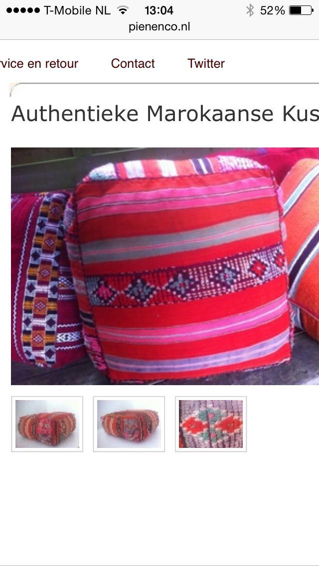 Marokkaanse woon kussens, de enige echte authentieke tapijten omgetoverd tot de mooiste woon kussens. Een echte aanvulling voor ieder interieur.  Www. pienenco.nl