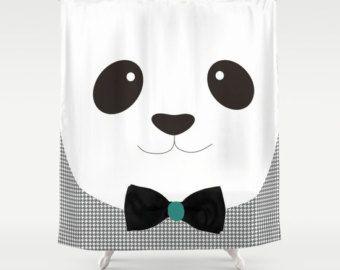 Oso Panda Cortinas Ducha Baño - Decoración cuarto de baño - Arte a mano Regalo Niños Niñas Infantil Cumpleaños Chicos Chicas Blanco y Negro