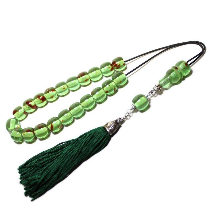 Worry Beads, Greek Komboloi, Green Caribbean Amber color, Ball shape beads, Tasbih, Handmade Green color Tassel