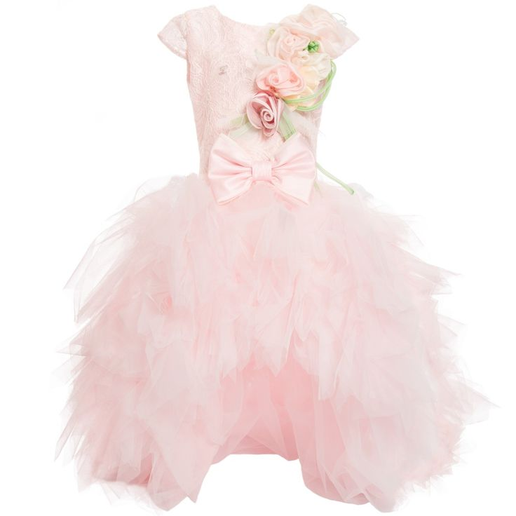 LADIA SS 2016 Ladia Pale Pink Lace & Tulle Dress with Long Train at Childrensalon.com