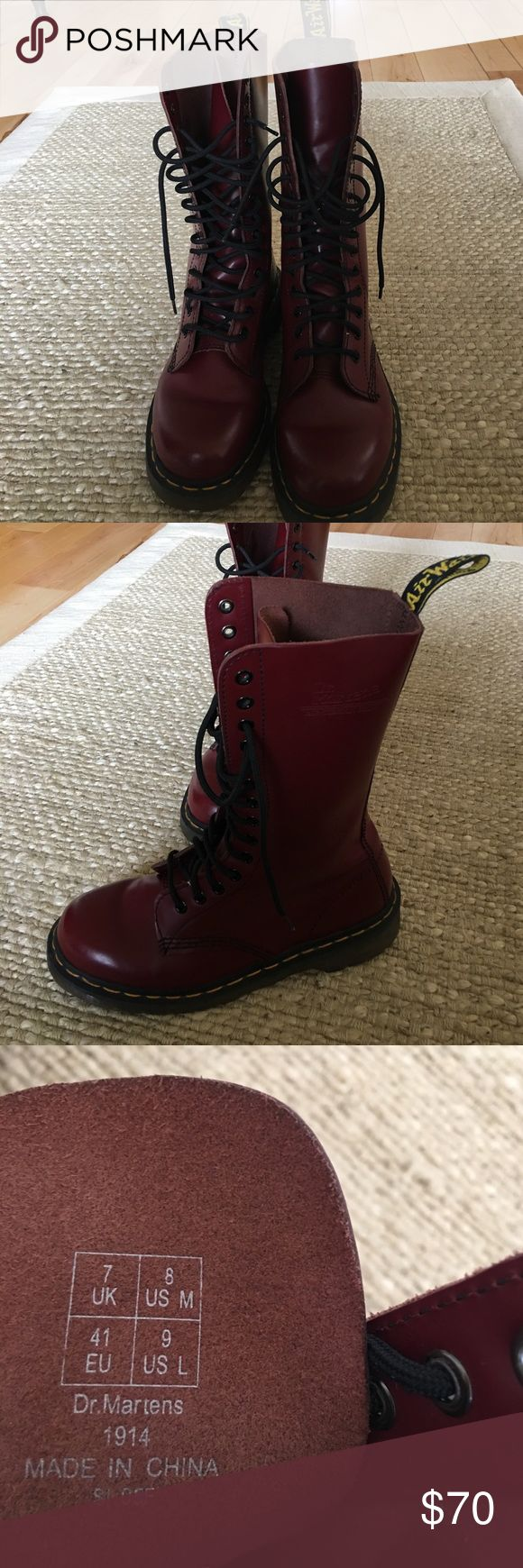 Doc Martens with Air Cushion Soles Like New, EUC! Dark red, mid calve, Doc Martens. Wear for work or motorcycle riding. These are ladies size 9 or men's size 8 Doc Martens Shoes Combat & Moto Boots