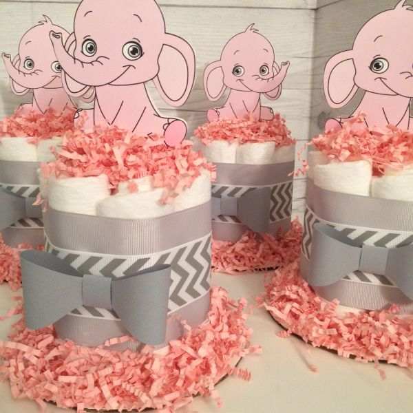 Set of 4 - Pink Baby Elephant Mini Diaper Cake Baby Shower Centerpieces - Chic Baby Cakes
