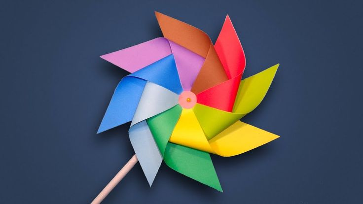 Paper Windmill - How to Make a Rainbow Color Paper (Pinwheel) for Kids D...