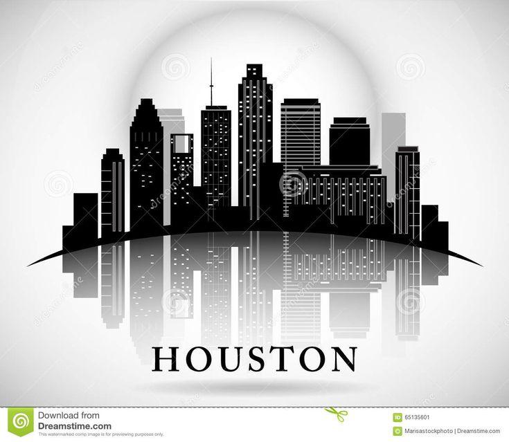 Silueta De La Ciudad Del Horizonte De Houston Texas Ilustración ...