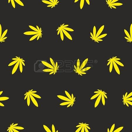 marijuana: Ganja Weed Marijuana Seamless Vector Pattern Background