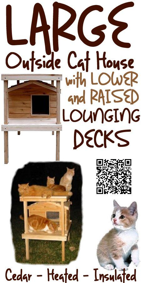 """The Large Cedar Outside Cat House With Lower And Raised Lounging Decks design offers comfort for your cats. It""""s elevated height keeps your cats from ground chill and wet conditions. The lounging deck is a great place for cat naps. The generous porch roof helps shield the doorway opening from dripping rain and melting snow. It is big enough to accommodate two large cats, and is individually hand crafted with the high quality workmanship, from cedar wood, www.catbedandtoy.com"""