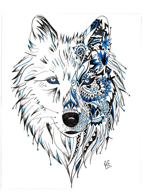 Tribal wolf by artbyashley95 on etsy must ink for Wolf head dreamcatcher tattoo