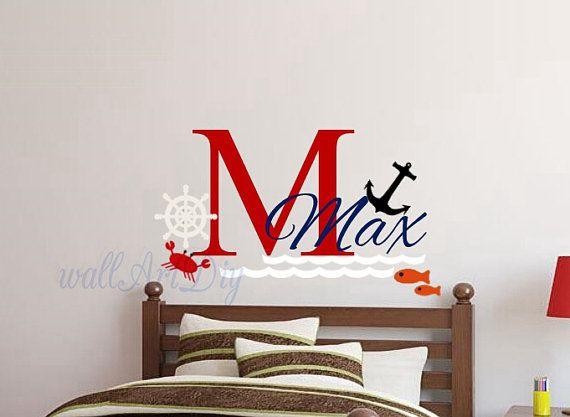 Nautical name wall decals Nursery name wall sticker by WallArtDIY