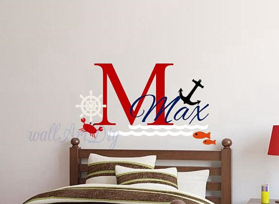 Nautical name wall decals Nursery name wall sticker by WallArtDIY