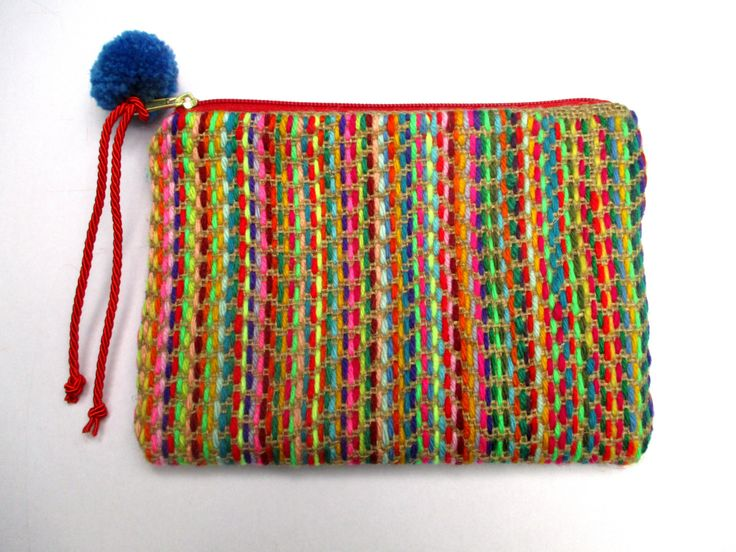 One of a kind handmade  Zipper purse,pouch,  hand embroidered with colorful wool…