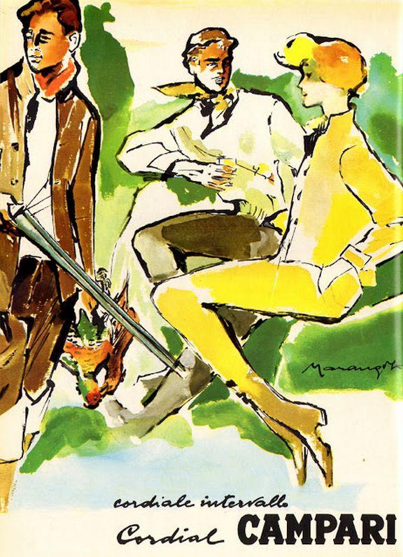 Illustration by Franz Marangolo, 1960's, Cordiale intervalle, Cordial Campari. (I)