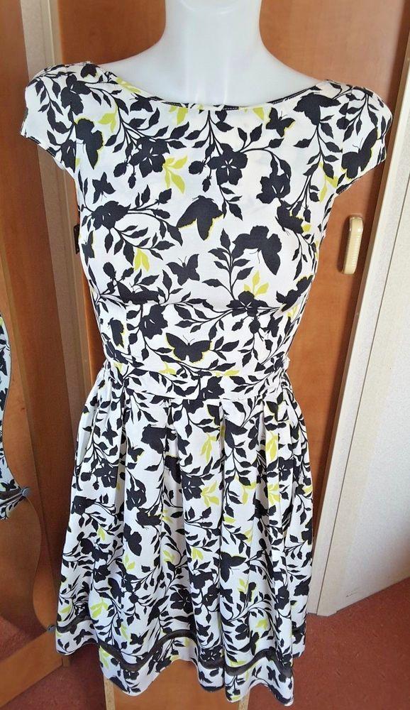 b00f720d59 Dorothy Perkins White   Black Butterfly Skater Summer Tea Dress Size 8   DorothyPerkins  SkaterDress  AnyOccasion