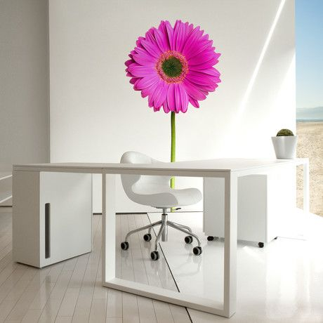 magenta flower wall decal. TOTALLY LOVE this.. How cheery would your office be if you had this to look at all day?