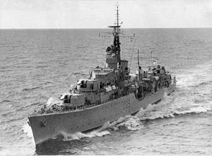 HMS Dunkirk (D09) battle-class fleet destroyer of the British Royal Navy, launched August 27, 1945. (wikipedia.image) 7.17