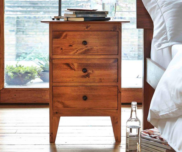 Warren Evans 3 drawer bedside cabinet oak satin