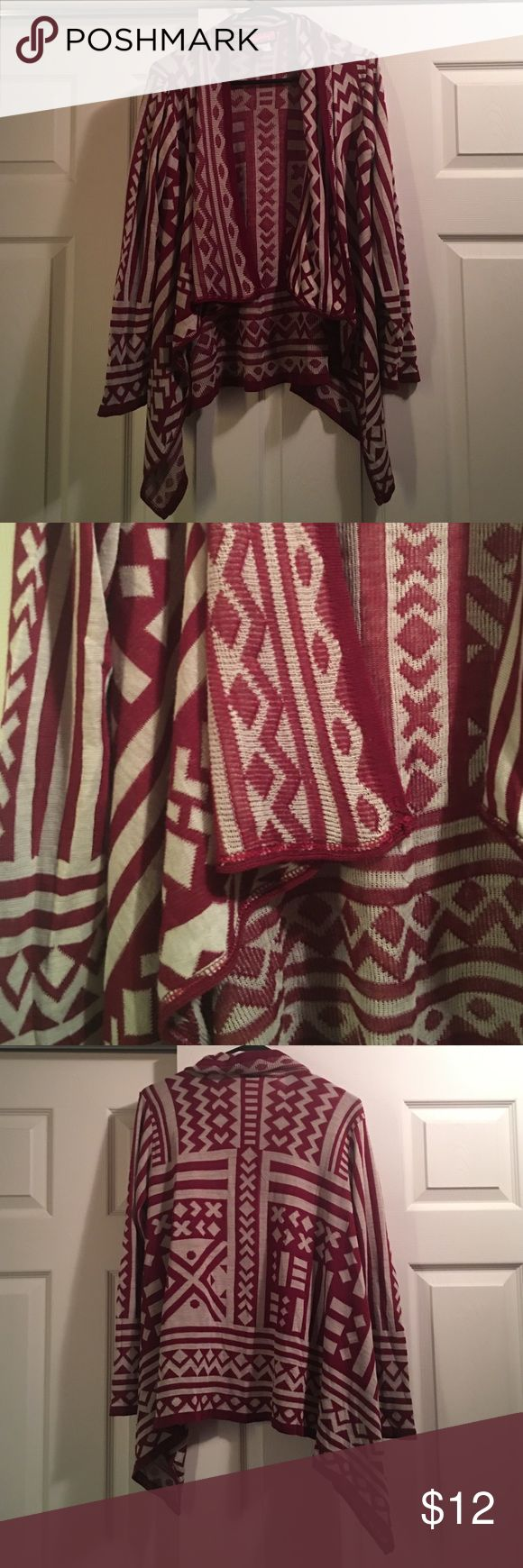 Tribal print Cardigan Burgundy and gray Trendy cardigan! In Perfect condition! Perfect for this Fall Season! Sweaters Cardigans